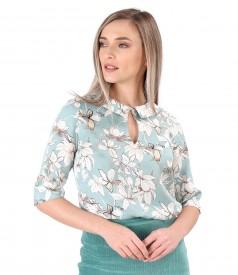 Bluza eleganta din tencel imprimat cu motive florale
