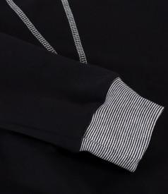Bluza tip hanorac din bumbac cu cusatura decorativa