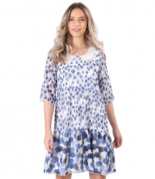 Rochie cu volane din voal imprimat cu guler rotund