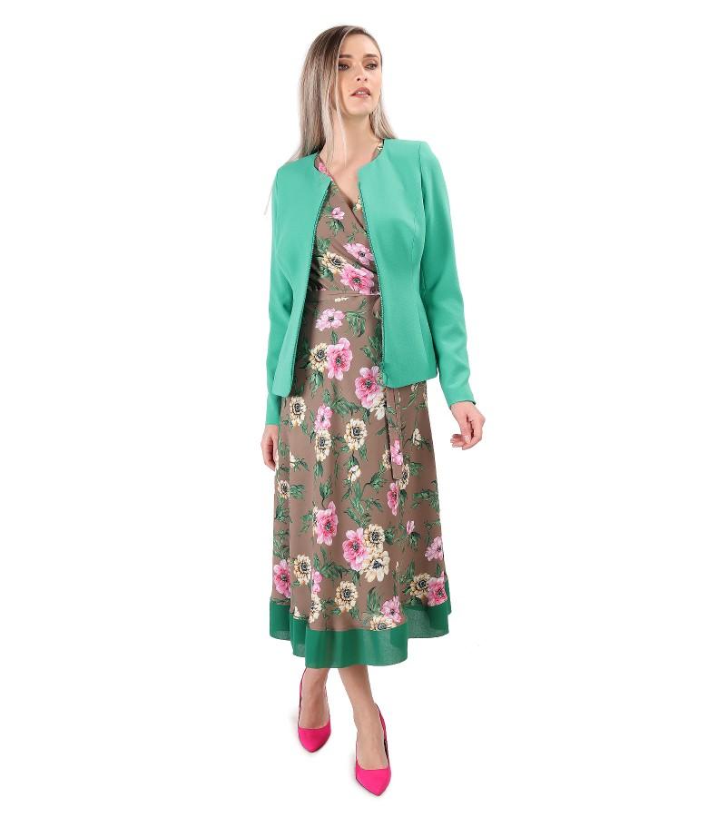 Rochie lunga imprimata cu motive florale cu sacou din stofa elastica