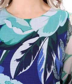 Rochie midi din voal imprimat cu motive florale