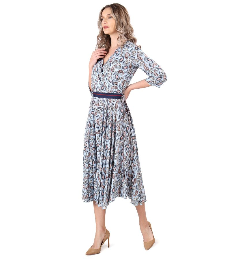 Rochie din viscoza imprimata cu motive paisley