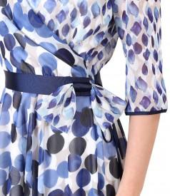 Rochie eleganta din voal imprimat cu buline
