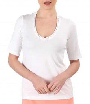 Bluza din jerse elastic subtire cu decolteu in V