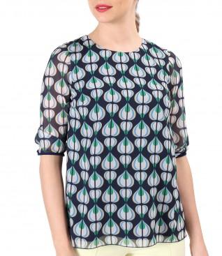 Bluza eleganta din voal imprimat cu motive geometrice