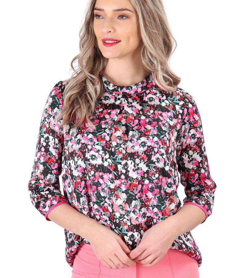 Bluza din saten imprimat cu motive florale