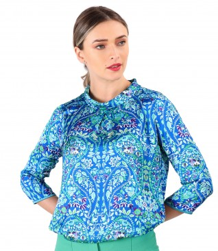 Bluza din saten imprimat cu motive paisley