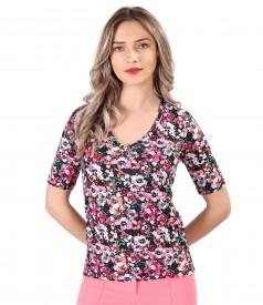 Bluza din jerse elastic subtire imprimat cu motive florale