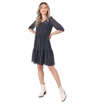 Rochie cu volane din voal imprimat