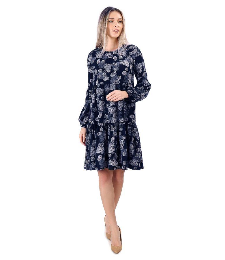 Rochie cu volane din viscoza imprimata cu motive florale