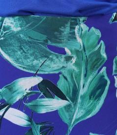 Fusta semiclos din voal imprimat cu frunze