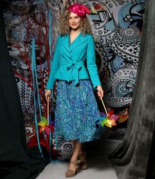 Rochie din voal imprimat cu sacou cu cordon in talie