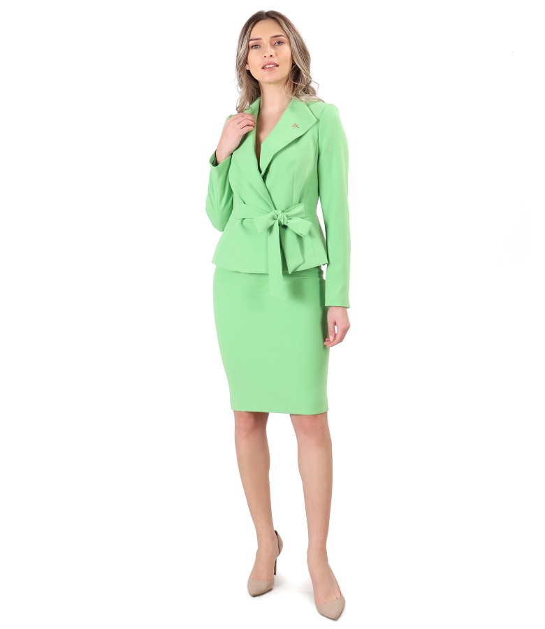 Costum dama office cu sacou cu cordon in talie si fusta creion
