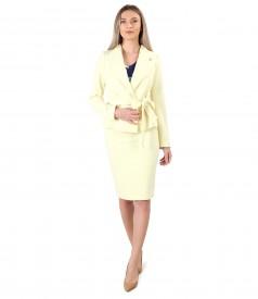 Costum dama office cu sacou cu cordon in talie si fusta