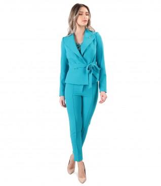 Costum dama office cu pantaloni pana si sacou cu cordon
