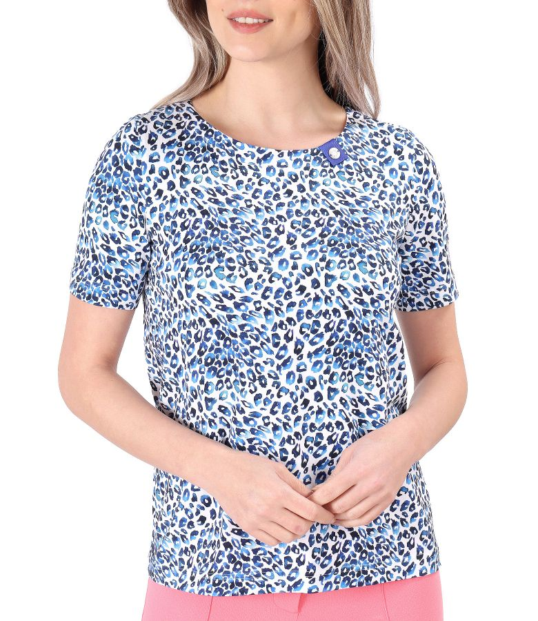 Bluza din bumbac elastic imprimat