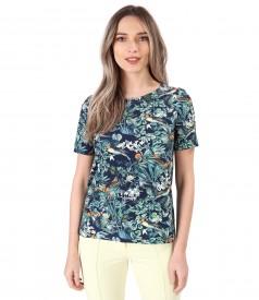 Bluza din bumbac elastic imprimat cu motive florale