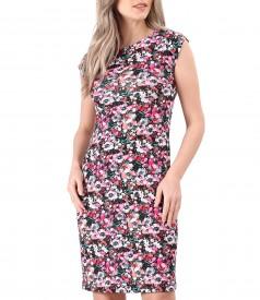 Rochie din jerse elastic imprimat cu motive florale