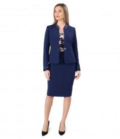Costum dama office cu fusta si sacou din stofa elastica bleumarin