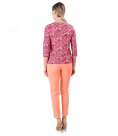 Pantaloni pana cu bluza din bumbac elastic imprimat