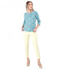 Tinuta eleganta cu pantaloni pana si bluza din bumbac elastic