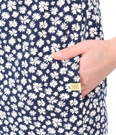 Rochie din bumbac elastic cu buzunare laterale