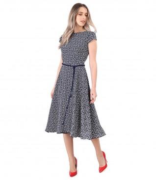 Rochie eleganta din viscoza imprimata cu motive geometrice