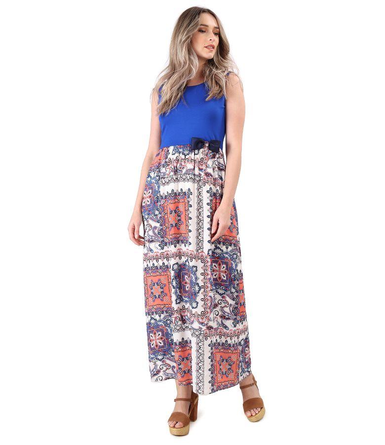 Rochie lunga cu fusta din viscoza imprimata