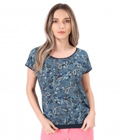 Bluza cu fata din viscoza imprimata cu motive paisley