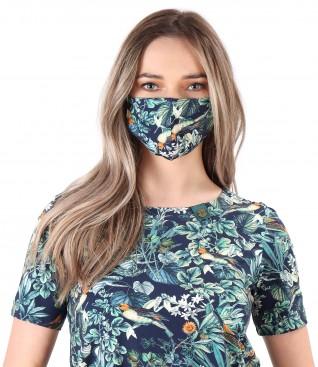 Masca refolosibila din bumbac elastic cu motive florale