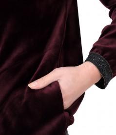 Hanorac fara gluga din catifea elastica