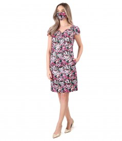 Rochie si masca din saten imprimat cu motive florale