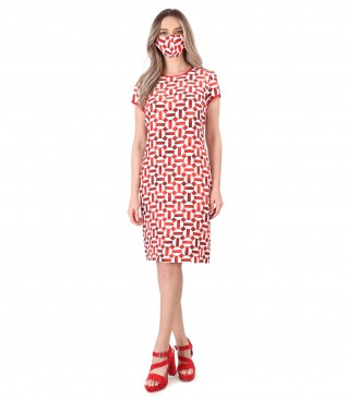 Rochie si masca din viscoza cu in imprimata cu motive geometrice