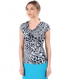 Bluza cu falduri din jerse elastic de viscoza