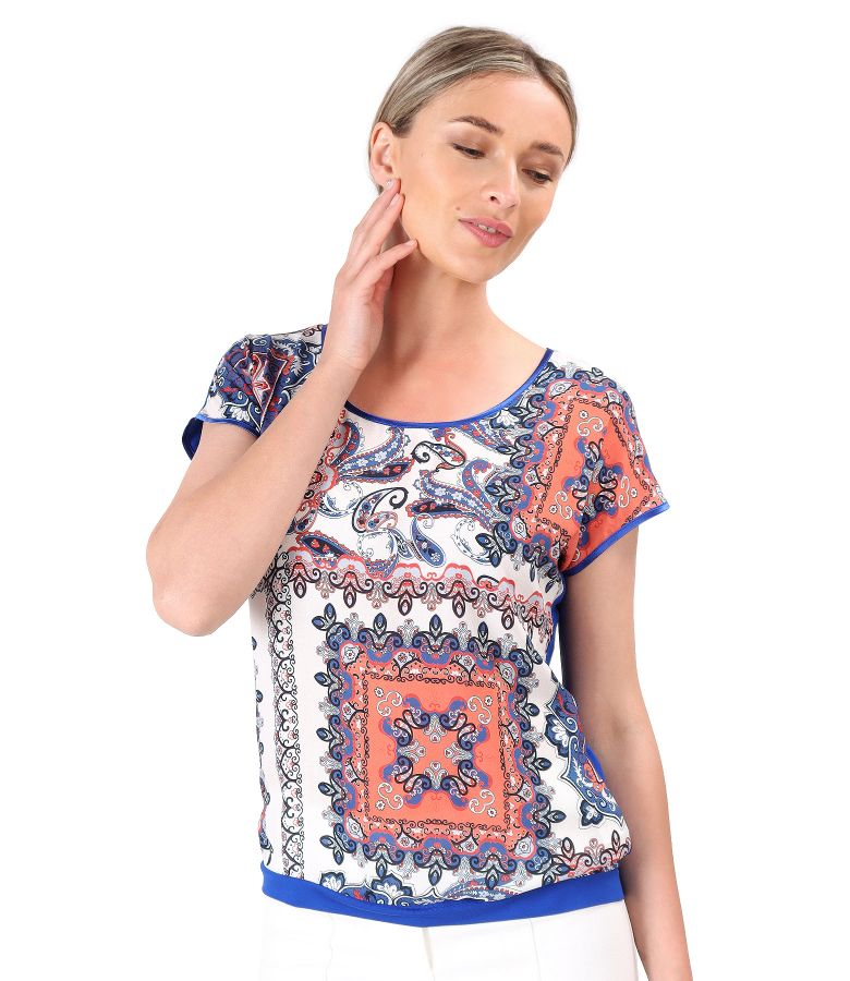 Bluza cu fata din viscoza imprimata cu motive florale