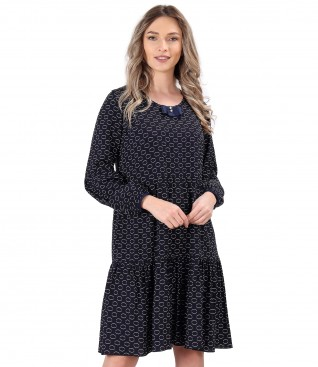 Rochie cu volane din viscoza imprimata cu cercuri