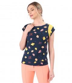 Bluza din jerse de viscoza imprimata cu frunze