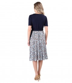 Rochie petrecuta cu fusta din viscoza imprimata cu motive paisley