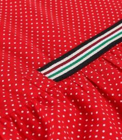 Rochie lejera cu volane din viscoza imprimata cu picouri