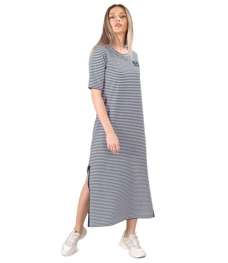 Rochie lunga din jerse elastic cu dungi