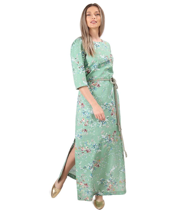 Rochie lunga din bumbac cu viscoza