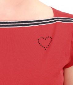 Bluza din jerse elastic cu banda de rips la decolteu