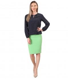 Bluza din viscoza imprimata cu fusta office