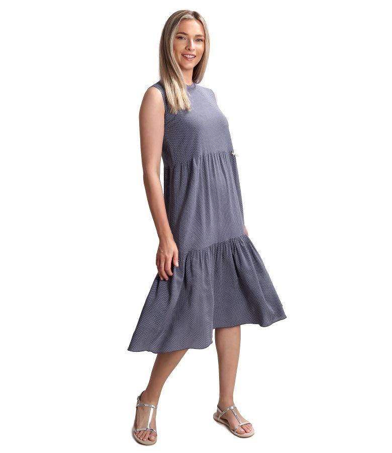 Rochie midi cu volan din viscoza imprimata cu picouri