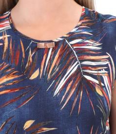 Rochie midi cu volan din viscoza imprimata cu motive florale