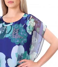 Rochie tip fluture din voal imprimat cu motive florale