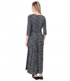 Rochie lunga petrecuta din jerse elastic de viscoza