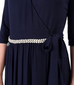 Rochie lunga petrecuta din jerse elastic catifelat de bambus