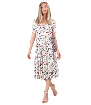 Rochie midi petrecuta din jerse elastic imprimat cu motive florale