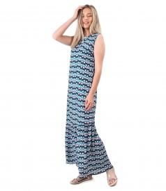 Rochie lunga cu volan din viscoza imprimata
